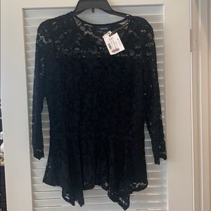 Black lace peplum top Made in the USA